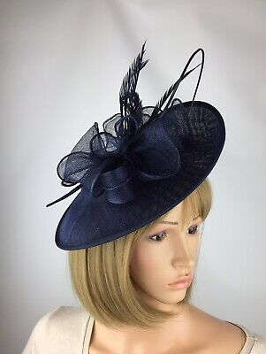 Dark Navy Blue fascinator Wedding Hatinator Mother Of The Bride Ascot Races Hat