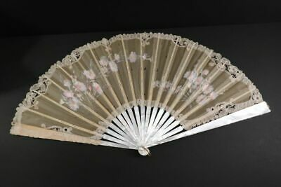 "Antique Hand Fan Handpainted Mother of Pearl 25"" Facher Eventail France 1880"