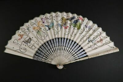 Antique Hand Fan Handpainted Butterflies Facher Eventail France 1890 Gorgeous