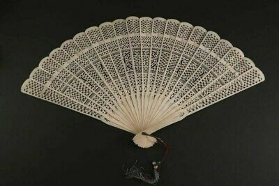Antique Hand Fan Bone Facher Eventail Ventaglio 1880