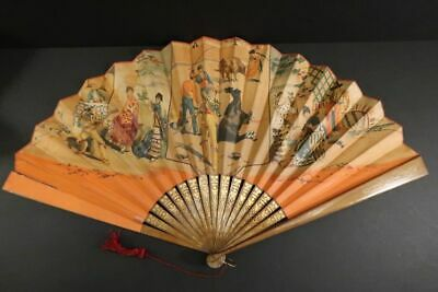 "Antique Large Hand Fan 24"" Facher Eventail Ventaglio Spain 1880"