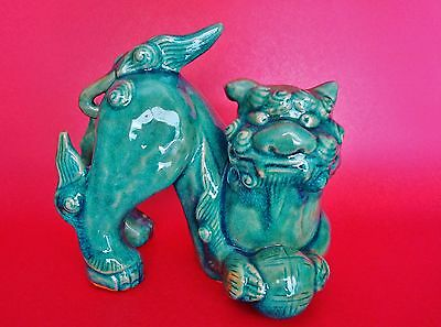 Antique Chinese Ceramic Lion Foo Dog Figure with Greenish-Turquoise Glaze