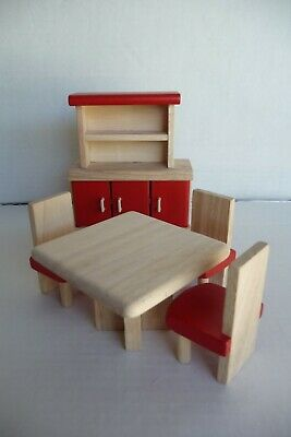 Dollhouse Miniature Furniture Living Room 5pcs Set Table Chair Wooden Toys gfr