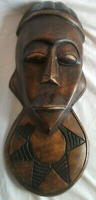 Carved African Tribal Man Head Wood