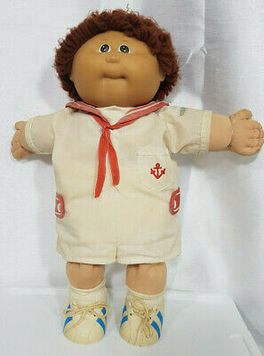 Vintage Cabbage Patch Kids Boy Doll 1985 Brown Hair And Sailor Outfit