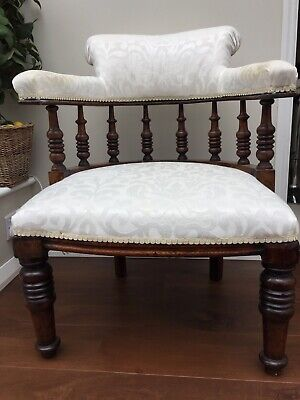 Refurbished Antique Victorian / Edwardian open-backed Mahogany tub chair