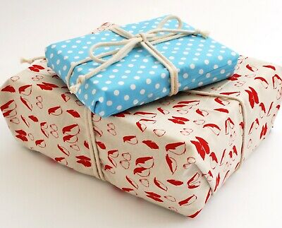 Reversible Reusable Cotton gift wrapping, Double Sided Print Plastic Free