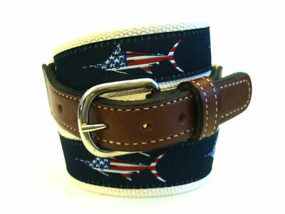 Mens Embroidered Leather Canvas Ribbon Fishing Belt Redfish Red Fish select sz