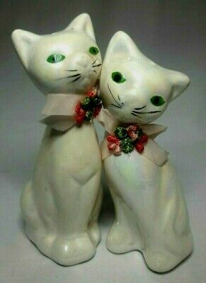 Vintage Siamese Cats Salt and Pepper Shakers Set Opalescent Pink Bow Green Eyes