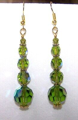 Handmade GRADUATING AB OLIVE GREEN CRYSTAL GLASS ROUND BEAD DROP DANGLE EARRINGS