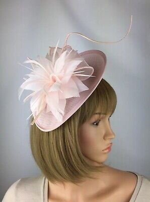 Nude Blush Light Pink Baby Pink Hat Fascinator Races Hair  Mother of the bride