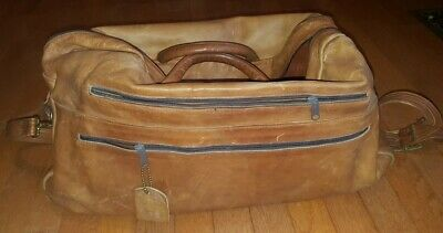 Large Vintage leather carry on overnight bag Duffle weekender luggage tan aged