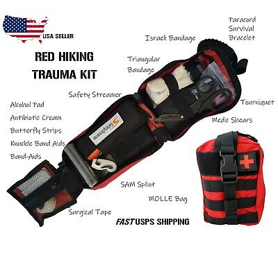 Tactical MOLLE First Aid Survival EMT Trauma Kit- Red Hiking Trauma Kit IFAK
