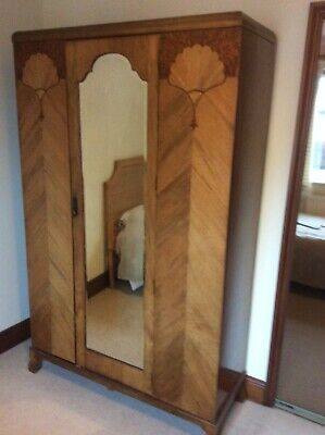 1930S Art Deco Walnut Single Mirrored Door Wardrobe Good Condition