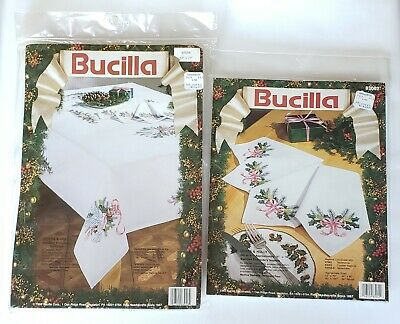 """Bucilla DOVES AND HOLLY Tablecloth linen to Embroider  60/"""" x 104/"""" W// 4 NAPKINS"""