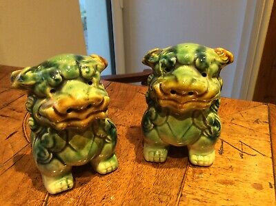 Vintage Pair of Chinese Green Glazed Lion Foo Dog Statues
