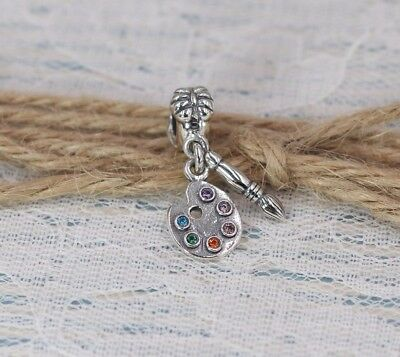 Pandora S925 Ale Artist's Palette Charm 791268CZMX With Tissue And Pop-up Box