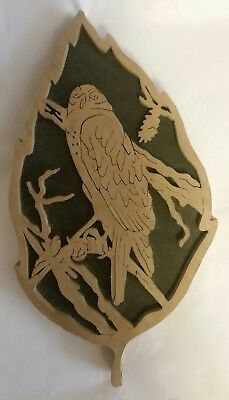 ~ Wooden Hand Crafted Bird (Wall Hanging) Picture ~ About 3 1/2 in. by 7 in. ~