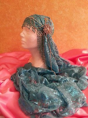 Turquoise Gatsby 20's Waterfall Beaded Sequin Lace Crystal Bridal Headpiece