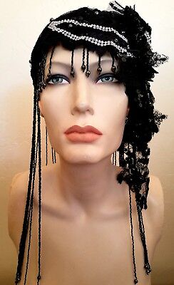 Black Gatsby 20's Waterfall Bead Lace Crystal Flapper Headpiece Hat Bridal