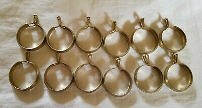 """12 Vintage Curtain Drape Hooks Round METAL Brass coated Clips 1"""" some SHOW  Age"""