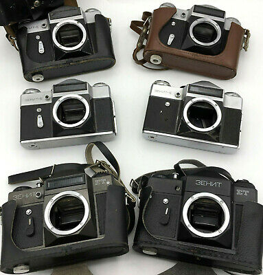 Zenit ET And Body Soviet SLR Vintage Film Camera 35 mm USSR KMZ Old Lot of 6