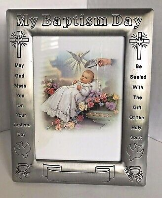 MY BAPTISM DAY Pewter Picture Frame Engraveable Retailed $22.99
