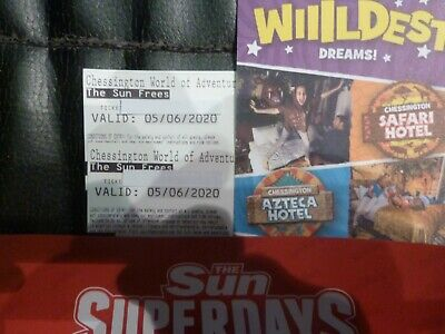 Two Chessington Card Tickets For Friday 5Th June Admits Adult Or Child
