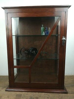 Vintage art deco style mahogany wood glass display cabinet counter top old
