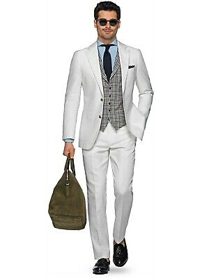 Suitsupply Off-White Cotton/Linen Suit 38R