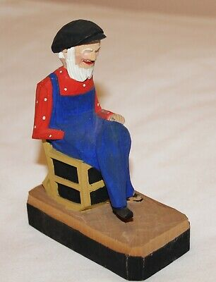 Vintage Hand Carved & Painted Man In Rocking Chair, Quebec