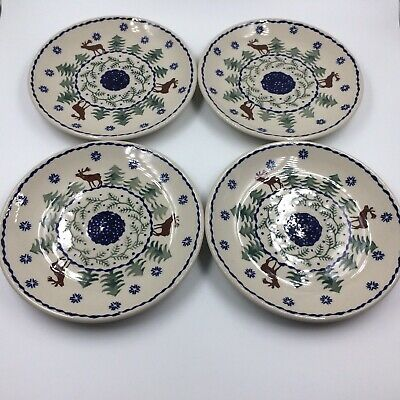 Boleslawiec Polish pottery salad plate set of 4 moose reindeer caribou 7 inch