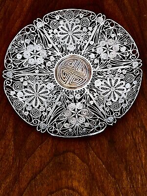 ~ Chinese Export Sterling Silver Filigree Plate Central Medallion No Monogram