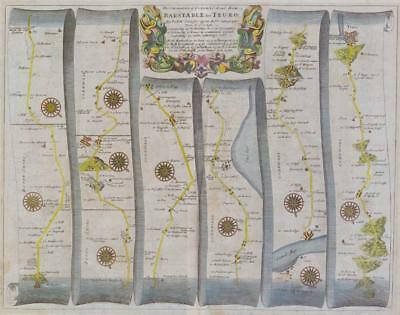 Oxford to Chichester inc.Basingstoke Harwell Replica 17c OGILBY Old Road Map