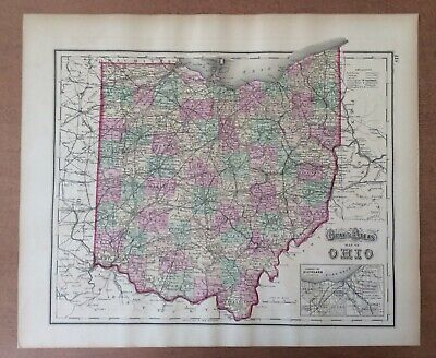 Antique 1873 Hand Colored OHIO KENTUCKY TENNESSEE MAP Authentic Grays Atlas Map