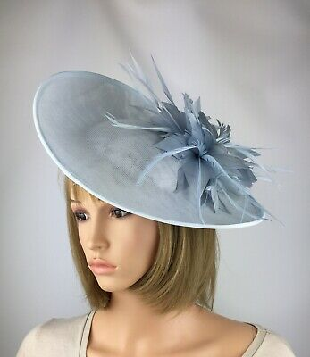 Pale Blue Ice Blue Light Blue Fascinator Oval Wedding Occasion Hatinator Races