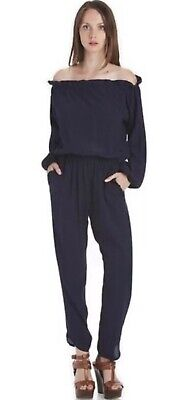Fraiche By J Romper Jumpsuit Nordstrom Off The ShouLder Navy Blue Size Small