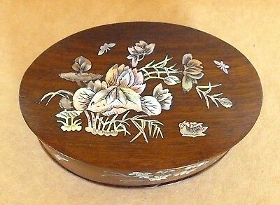 Antique Chinese Wood Box Mother of Pearl Inlay Oval Circa 1900- 1920's Floral
