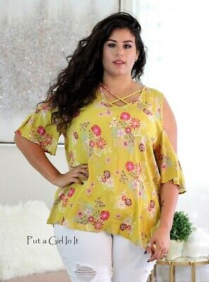 PLUS SIZE Womens YELLOW FLORAL RUFFLE COLD SHOULDER TUNIC SHIRT USA 1X 2X 3X