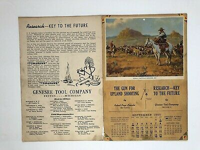 """FRANK HOFFMAN- sep 1945  illustrated """" FALL CATTLE ROUND-UP """" calendar"""