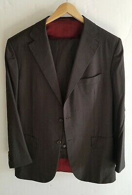 Kiton Frederick Hellmann  Brown suit Size 42 Suit With Red Silk Lining!