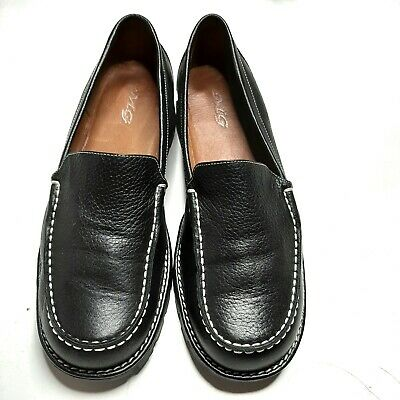 MG womens black moccasin flats, heavy duty, Leather upper, Size 10 M