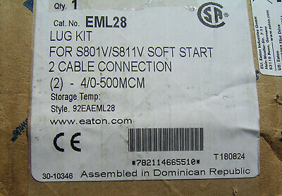 Eaton EML28 lug kit for S801V/S811V Soft Start 2 cable connection 290MM electric