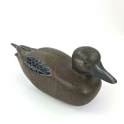 VTG Solid Wood Hand Carved Hand Painted Duck Mallard Decoy Decor