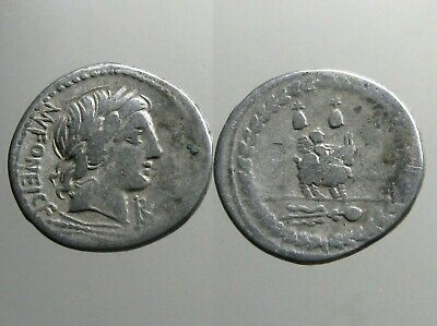 FONTEIA 9 SILVER DENARIUS___Roman Republic___INFANT WINGED CUPID SEATED ON GOAT