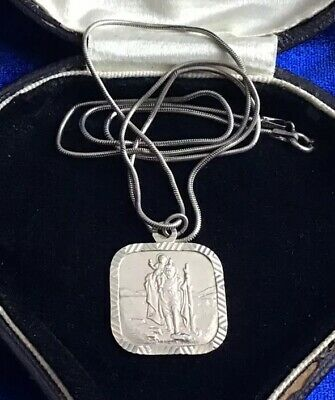 Quality Antique Art Deco Real Silver Square St Christopher Pendant & Chain