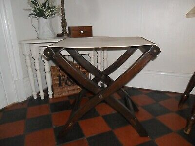 Vintage Wooden X Frame Safari / Campaign Folding Stool,Canvas Top