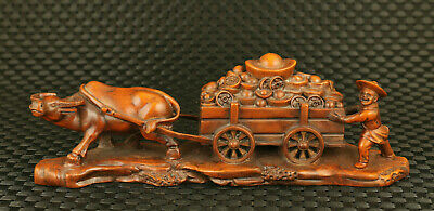 Chinese Rare old boxwood Handmade collectable Lucky cow statue table deco