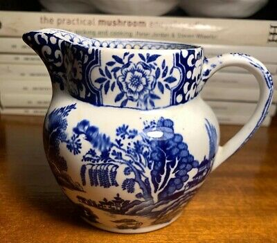 ANTIQUE BLUE WILLOW CREAMER~CHINESE JAPANESE SCENIC~Greeley~England 1888