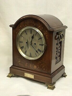 Antique Inlaid Mahogany Double Fusee Bracket Clock In Working Order